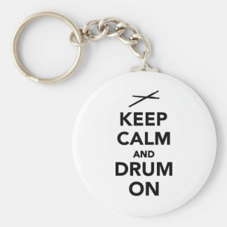 Keep calm and drum on keychain