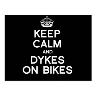 KEEP CALM AND DYKES ON BIKES - WHITE -.png Postcard