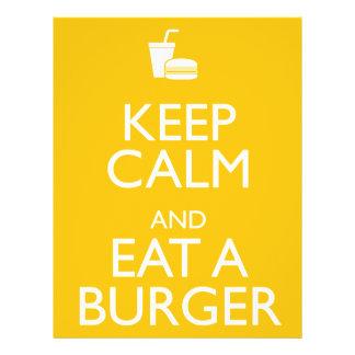 "KEEP CALM AND EAT A BURGER 8.5"" X 11"" FLYER"