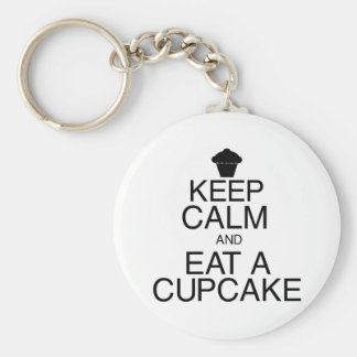 Keep Calm and Eat a Cupcake Basic Round Button Keychain