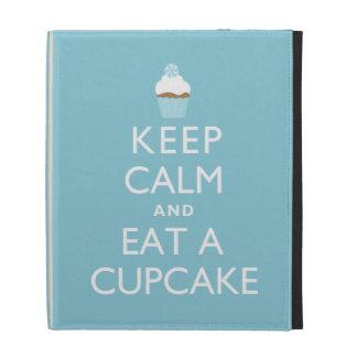 Keep Calm and Eat a Cupcake blue iPad Folio Covers