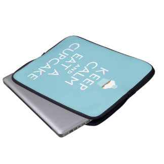 Keep Calm and Eat a Cupcake {blue} Laptop Sleeve