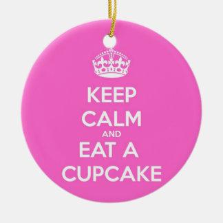 Keep Calm and Eat a Cupcake Ceramic Ornament
