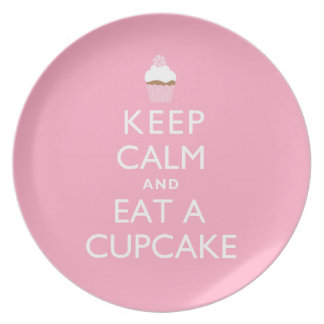 Keep Calm and Eat a Cupcake {pink} Party Plate