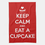 Keep Calm and Eat A Cupcake Red Hand Towel