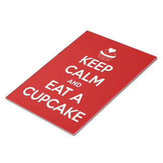 Keep Calm and Eat A Cupcake Red Notepad