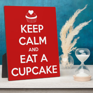 Keep Calm and Eat A Cupcake Red Photo Plaques