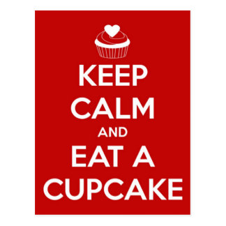 Keep Calm and Eat A Cupcake Red Postcard