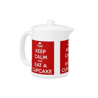 Keep Calm and Eat A Cupcake Red Teapot