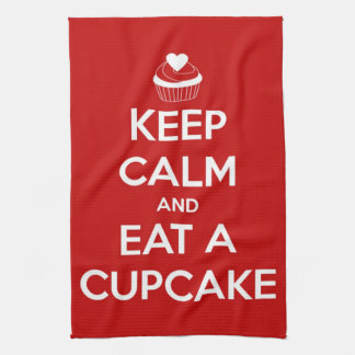 Keep Calm and Eat A Cupcake Red Towel