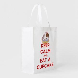 Keep Calm and Eat a Cupcake Reusable Grocery Bag