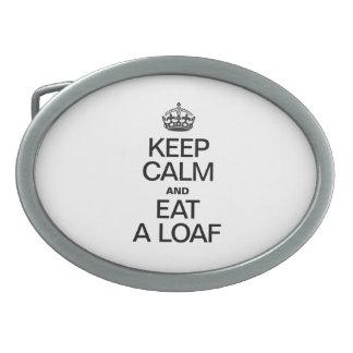 KEEP CALM AND EAT A LOAF OVAL BELT BUCKLE