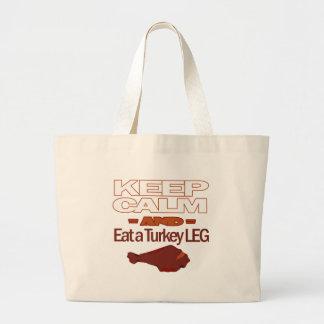 Keep Calm and Eat a Turkey Leg Large Tote Bag