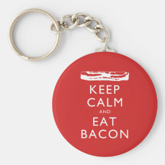Keep Calm and Eat Bacon Basic Round Button Keychain