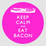 Keep Calm and Eat Bacon Classic Round Sticker