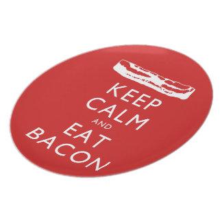 Keep Calm and Eat Bacon Dinner Plate