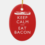 Keep Calm and Eat Bacon Double-Sided Oval Ceramic Christmas Ornament