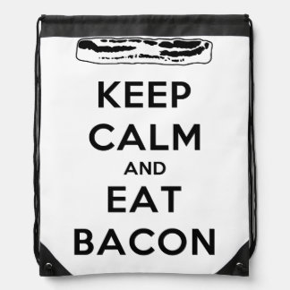 Keep Calm and Eat Bacon Drawstring Bag