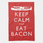 Keep Calm and Eat Bacon Hand Towels