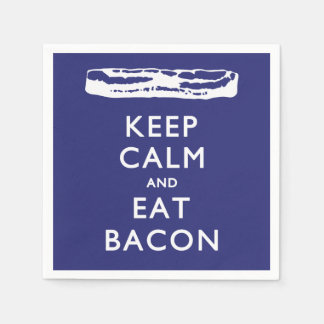 KEEP CALM AND EAT BACON STANDARD COCKTAIL NAPKIN