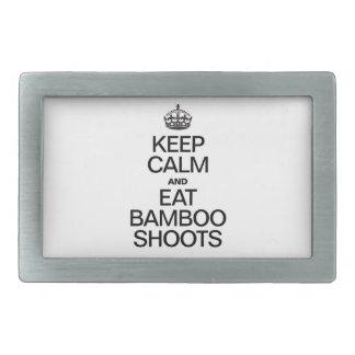 KEEP CALM AND EAT BAMBOO SHOOTS RECTANGULAR BELT BUCKLE
