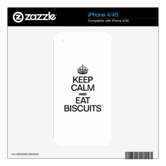 KEEP CALM AND EAT BISCUITS SKINS FOR iPhone 4S