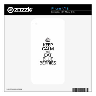 KEEP CALM AND EAT BLUEBERRIES DECALS FOR THE iPhone 4S