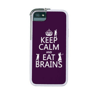Keep Calm and Eat Brains (zombies) (any color) Cover For iPhone 5/5S