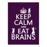 """Keep Calm and Eat Brains (zombies) (any color) 5.5"""" X 7.5"""" Invitation Card"""