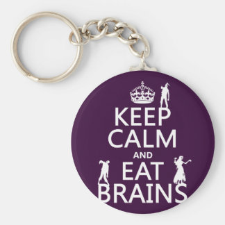 Keep Calm and Eat Brains (zombies) (any color) Key Chain