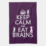 Keep Calm and Eat Brains (zombies) (any color) Towels