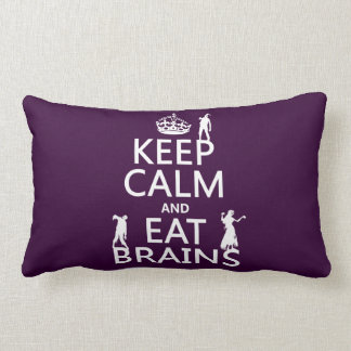 Keep Calm and Eat Brains (zombies) (any color) Lumbar Pillow