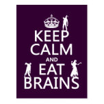 Keep Calm and Eat Brains (zombies) (any color) Postcard