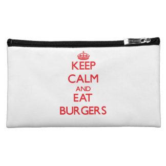 Keep calm and eat Burgers Makeup Bags