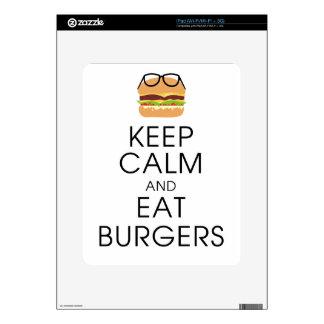 keep calm and eat burgers iPad skins