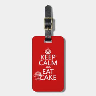 Keep Calm and Eat Cake Bag Tag