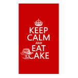 Keep Calm and Eat Cake (customize colors) Business Card Template