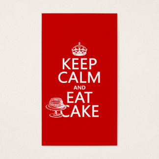 Keep Calm and Eat Cake (customize colors) Business Card