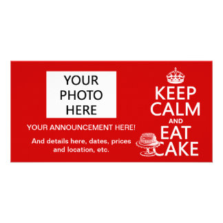 Keep Calm and Eat Cake (customize colors) Picture Card