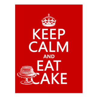 Keep Calm and Eat Cake Postcard
