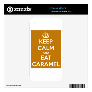KEEP CALM AND EAT CARAMELS FUNNY SAYINGS iPhone 4 SKINS