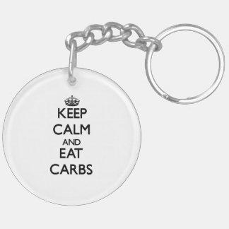 Keep calm and eat Carbs Key Chains