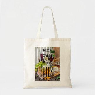 Keep calm and eat cheese tote bag