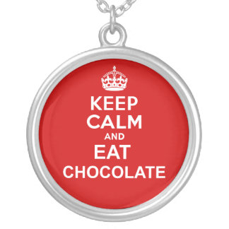 Keep Calm and Eat Chocolat Silver Plated Necklace