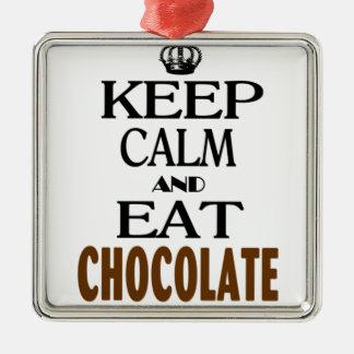 Keep Calm and Eat Chocolate Square Metal Christmas Ornament