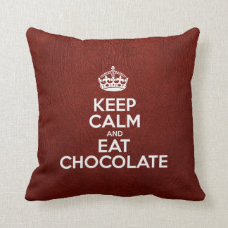 Keep Calm and Eat Chocolate - Red Leather Throw Pillow