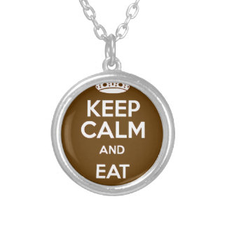 Keep Calm and Eat Chocolate Silver Plated Necklace