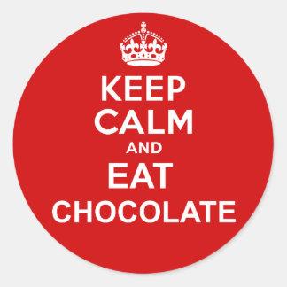 Keep Calm and Eat Chocolate Round Sticker