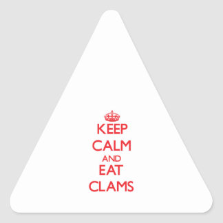 Keep calm and eat Clams Triangle Sticker