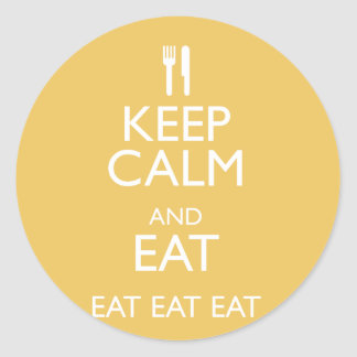 KEEP CALM AND EAT CLASSIC ROUND STICKER
